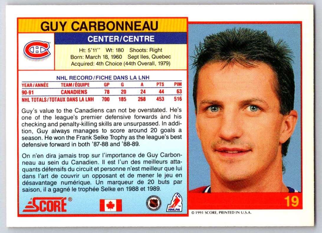 1991-92 Score Canadian Bilingual Guy Carbonneau #19 card back image