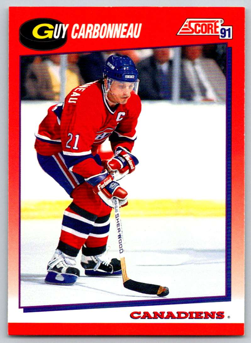 1991-92 Score Canadian Bilingual Guy Carbonneau #19 card front image