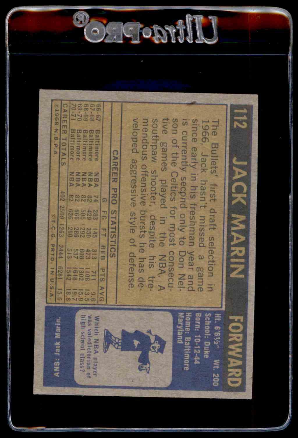 1971 72 Topps EX Jack Marin 112 on Kronozio
