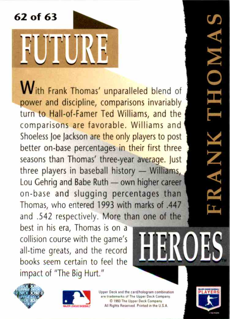 1993 Upper Deck Series 2 Future Heros Frank Thomas #62 card back image