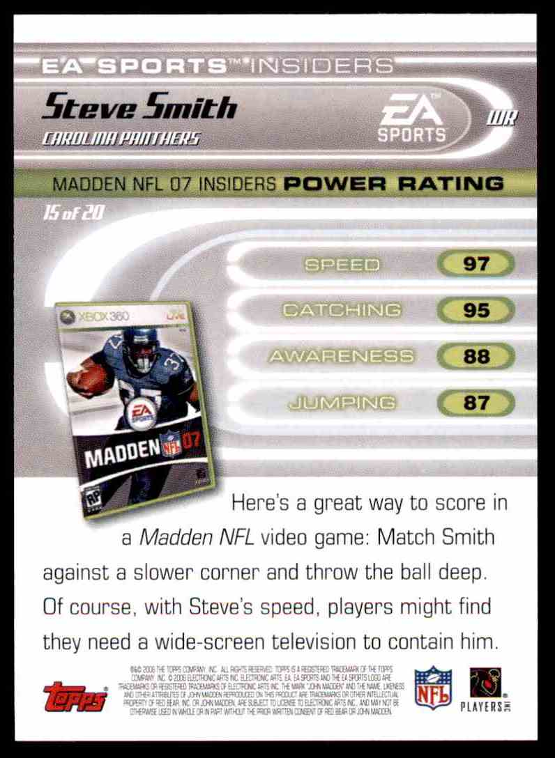 2006 Topps Ea Sports Madden Steve Smith #15 card back image