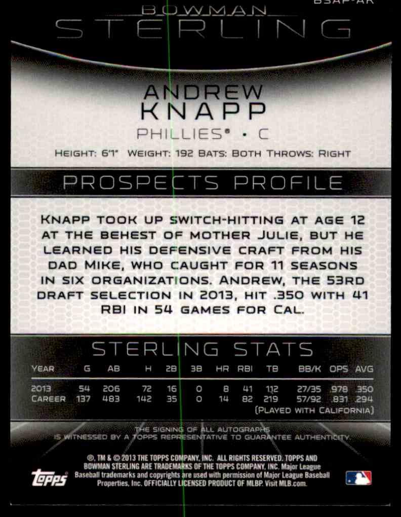 2013 Bowman Sterling Andrew Knapp #BSAP-AK card back image