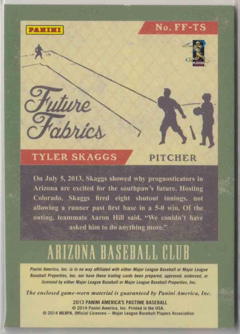 2013 Panini America's Pastime Future Fabrics Tyler Skaggs #FF-TS card back image