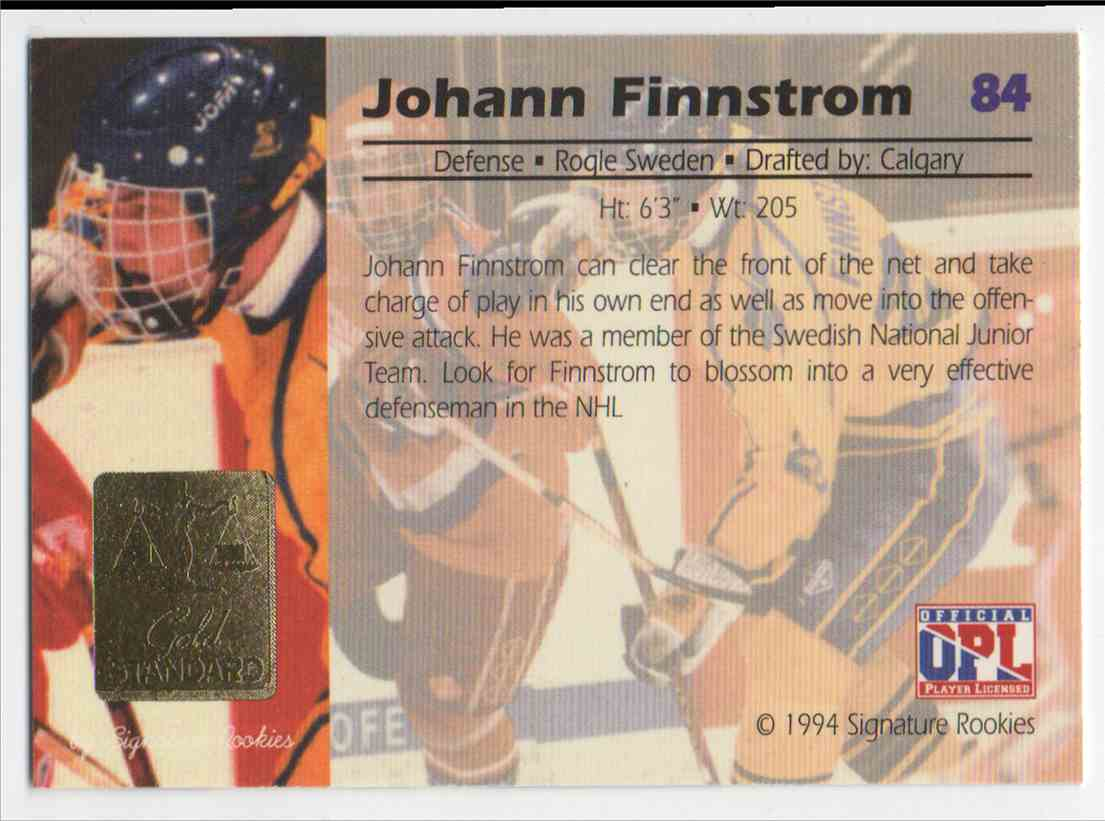 1994-95 Signature Rookies Gold Standard Johann Finnstrom #84 card back image