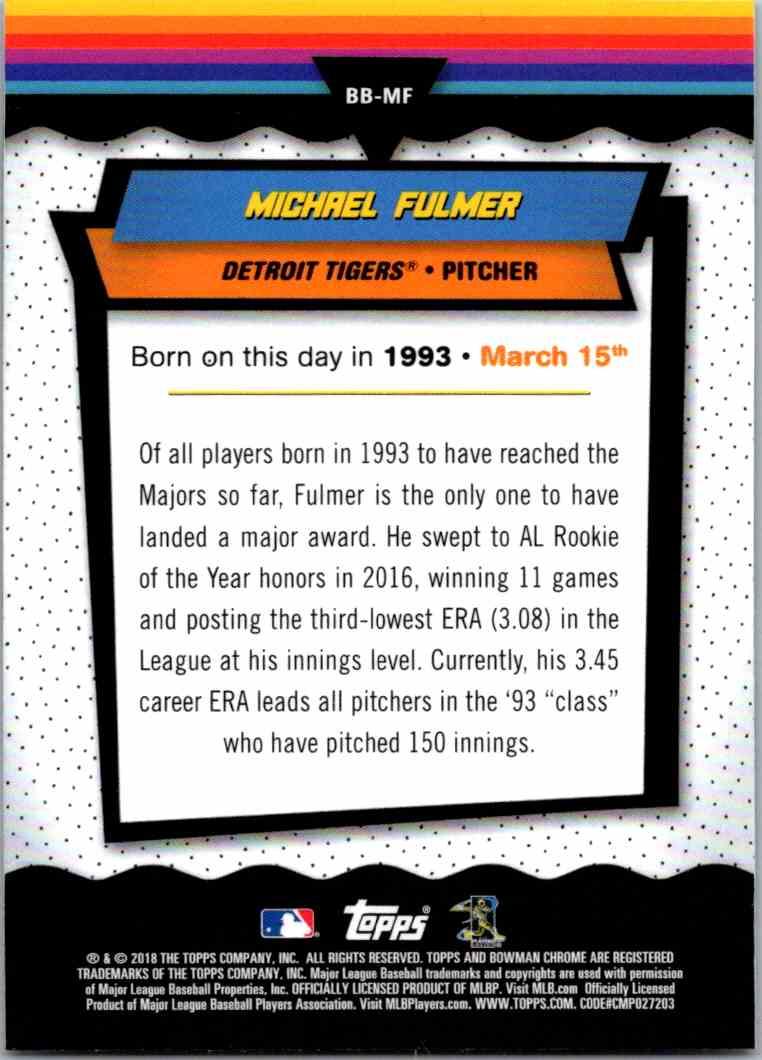 2018 Bowman Chrome Bowman Birthdays Michael Fulmer #BB-MF card back image