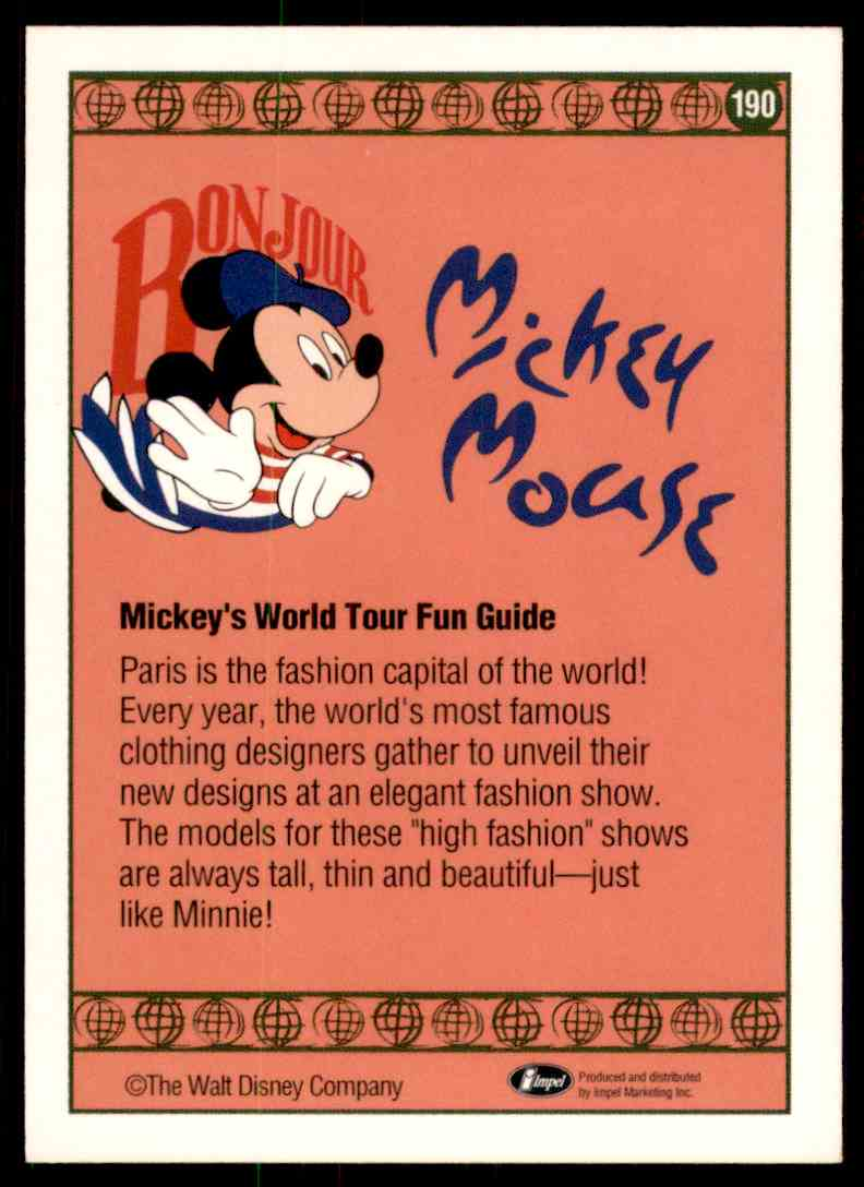 1991 Disney Series One Paris Originals #190 card back image