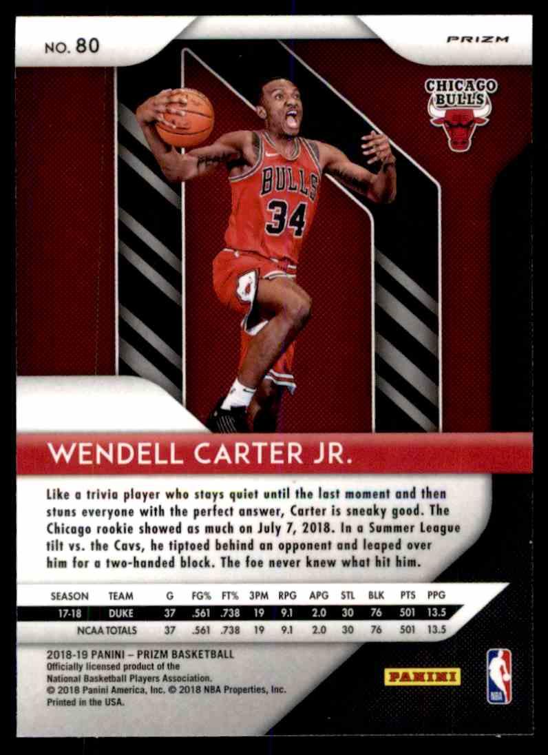 Chicago Bulls Rookie Basketball Card 2018-19 Panini Prizm #80 Wendell Carter Jr
