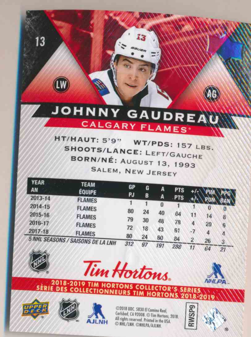 2018-19 Upper Deck Tim Hortons Johnny Gaudreau #13 card back image