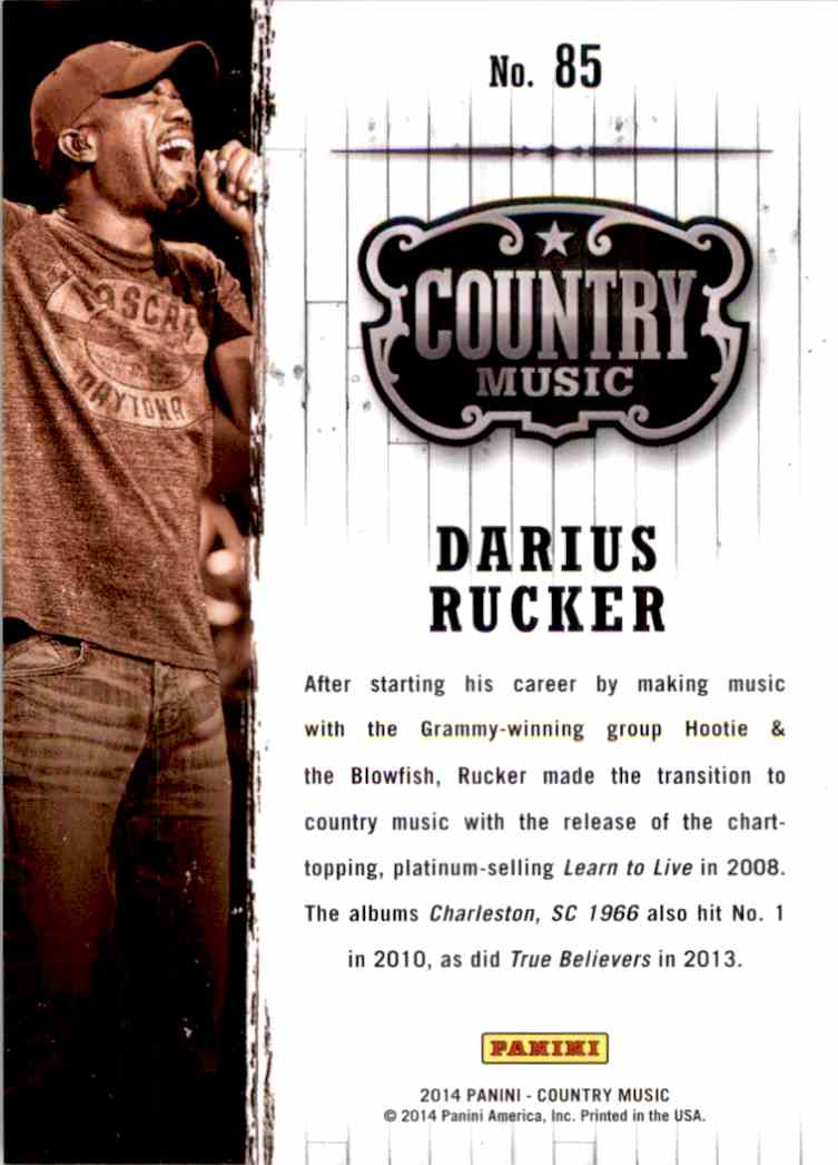 2015 Country Music Purple Darius Rucker #85 card back image