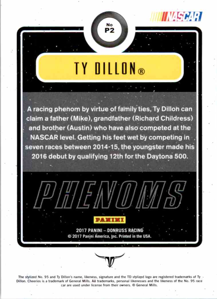2017 Panini Donruss Racing Ty Dillion #P2 card back image