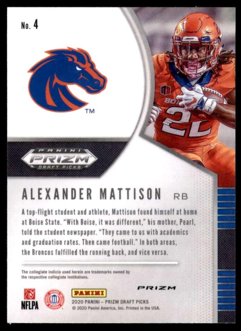 2020 Panini Prizm Draft Picks Prizms Silver Alexander Mattison #4 card back image