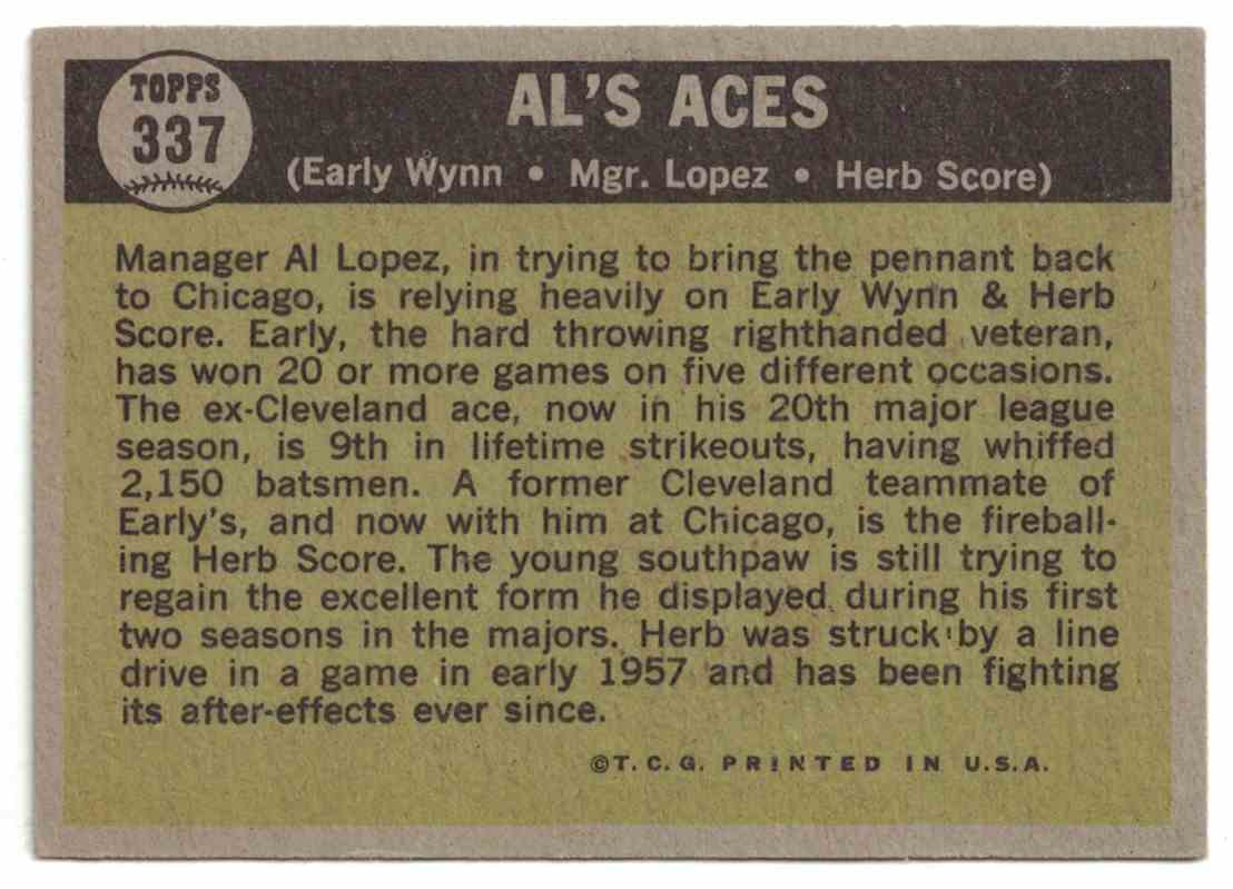 1961 Topps AL's Aces - Early Wynn, Al Lopez, Herb Score EX #337 card back image