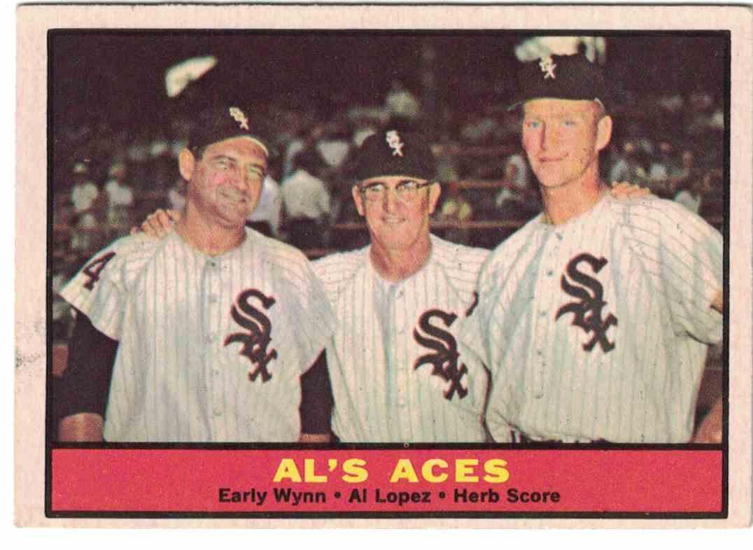 1961 Topps AL's Aces - Early Wynn, Al Lopez, Herb Score EX #337 card front image