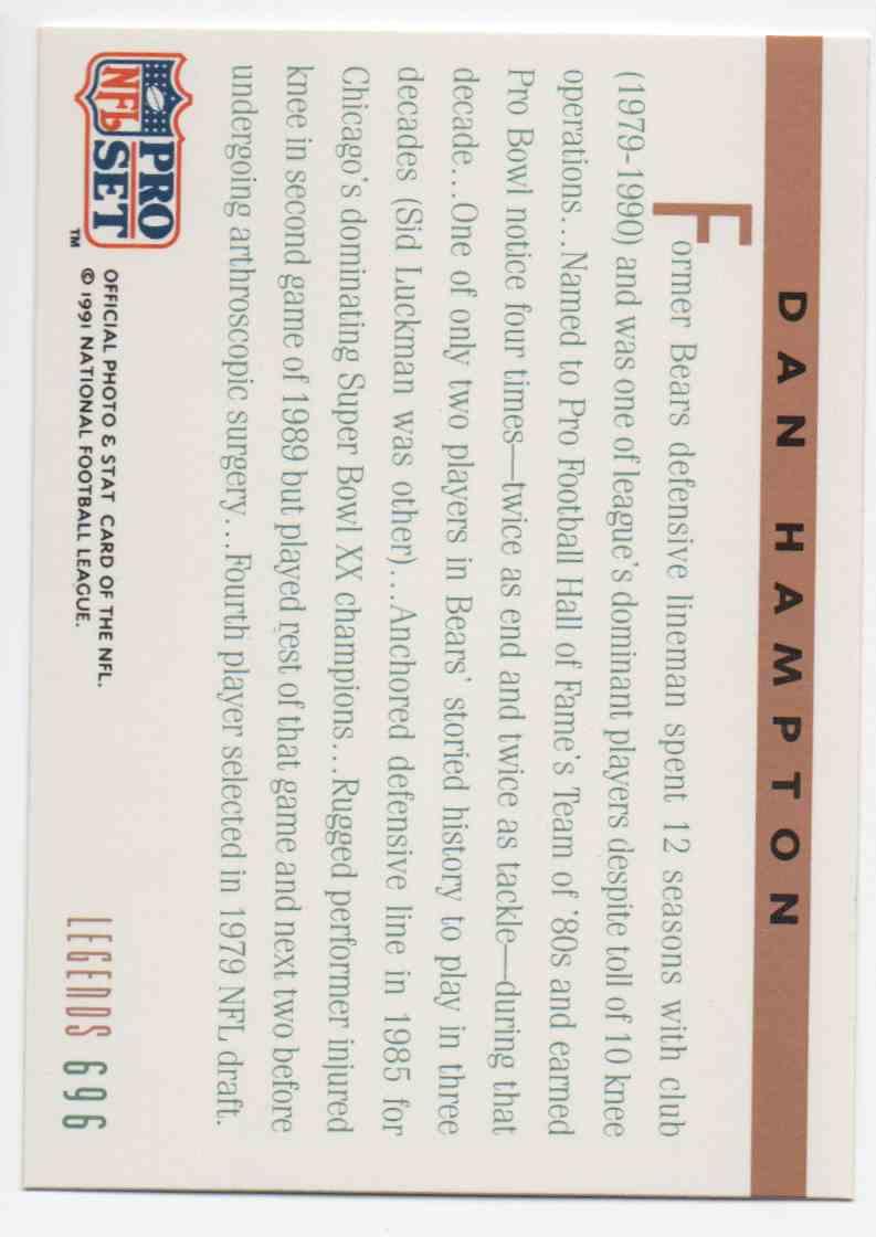 1991 Pro Set Dan Hampton #696 card back image