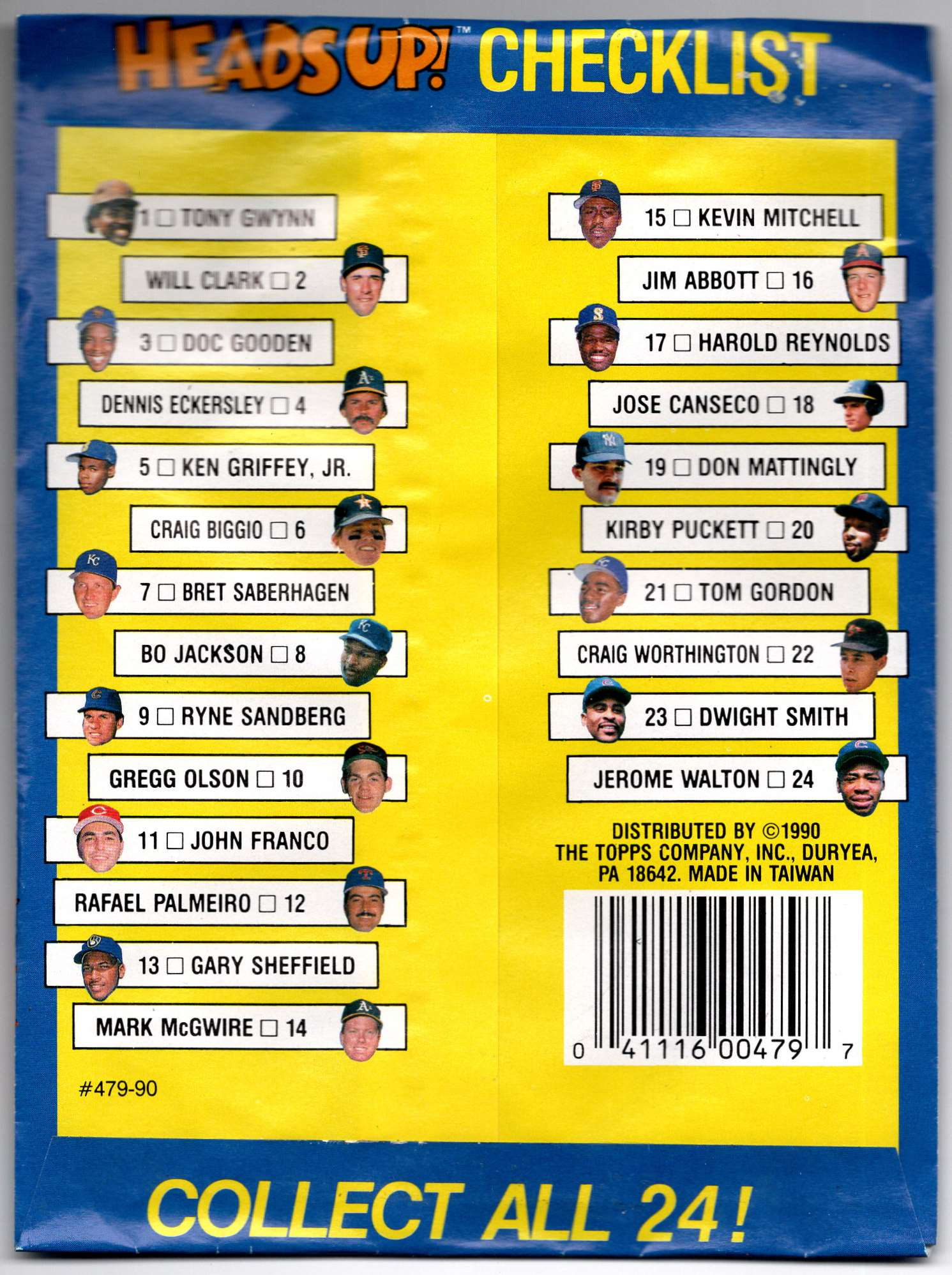 1990 Topps Heads Up Unopened Pack #1 card back image