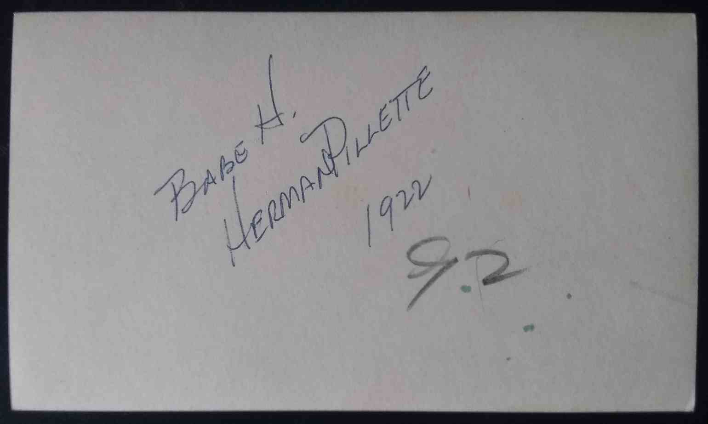 1922 3X5 Photo Herman Pillette card back image