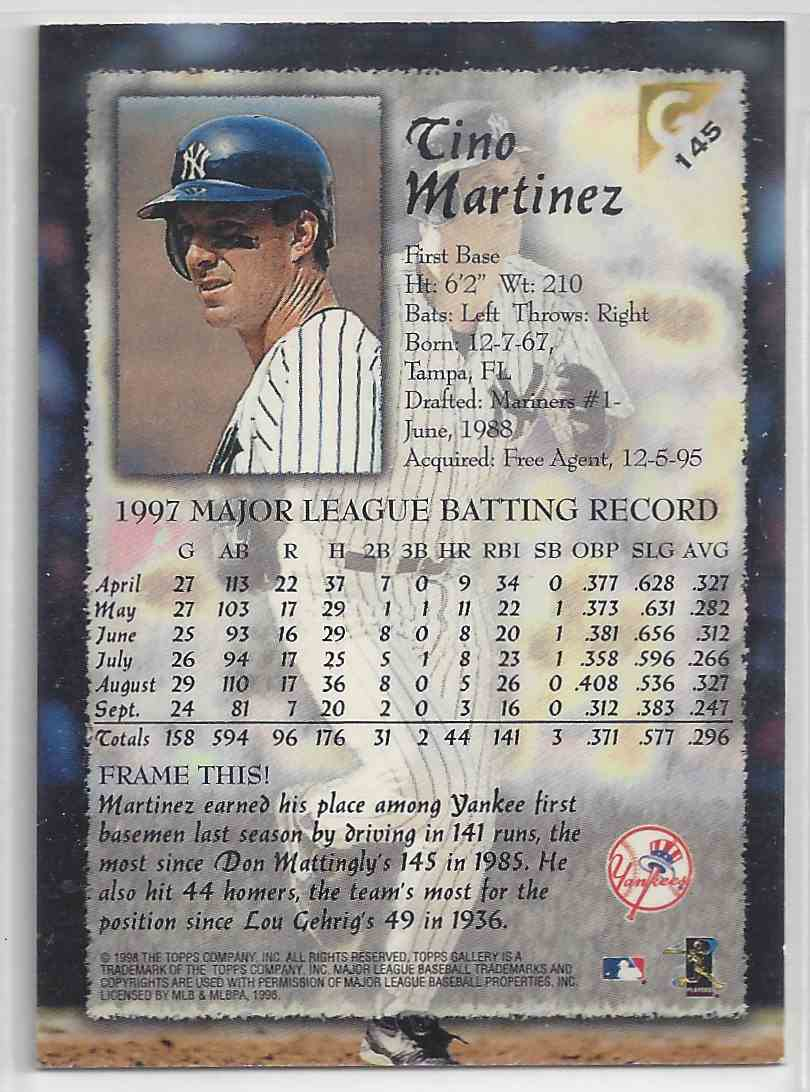 1998 Topps Gallerry Impressions Tino Martinez #146 card back image