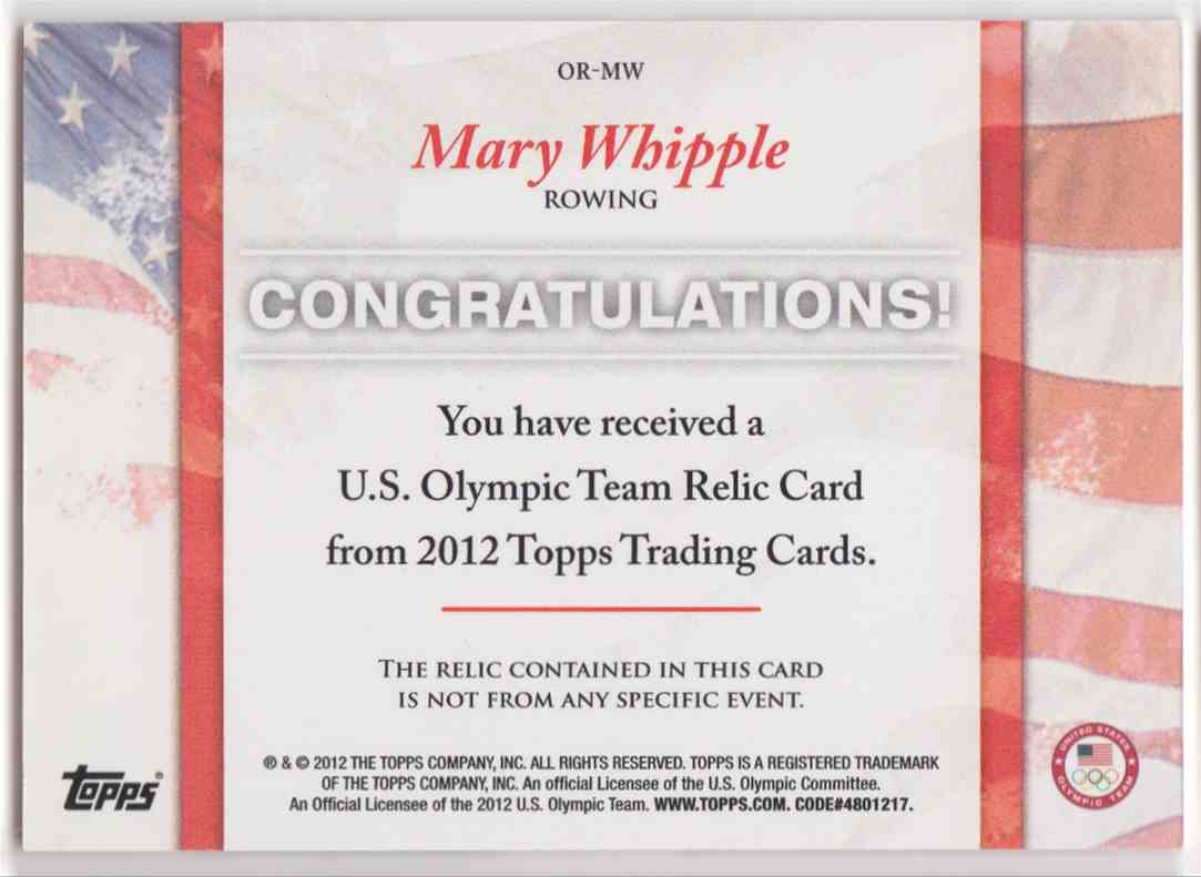 2012 Topps U.S. Olympic Team Relic Mary Whipple #OR-MW card back image