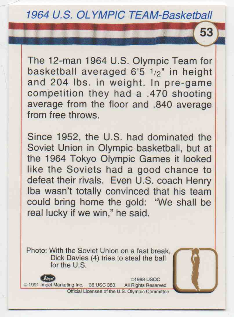 1991 Impel U.S. Olympic Hall Of Fame Dick Davies #53 card back image