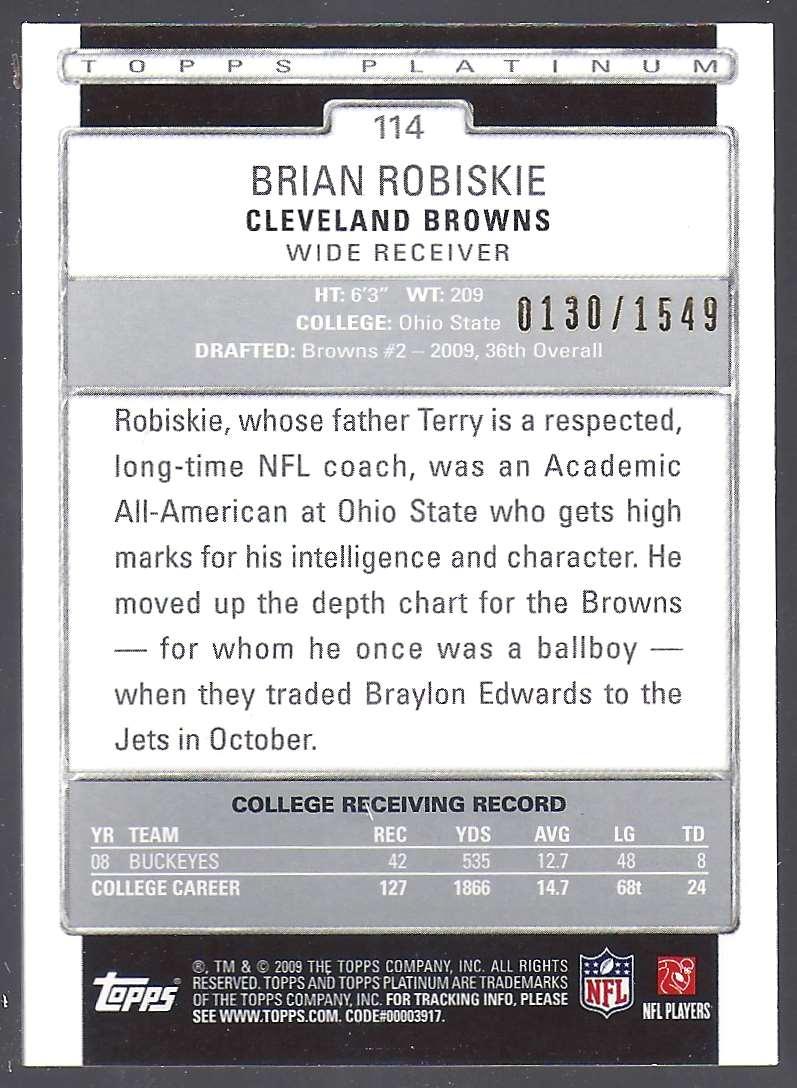 2009 Topps Platinum Rookie Platinum Refractors Brian Robiskie #114 card back image