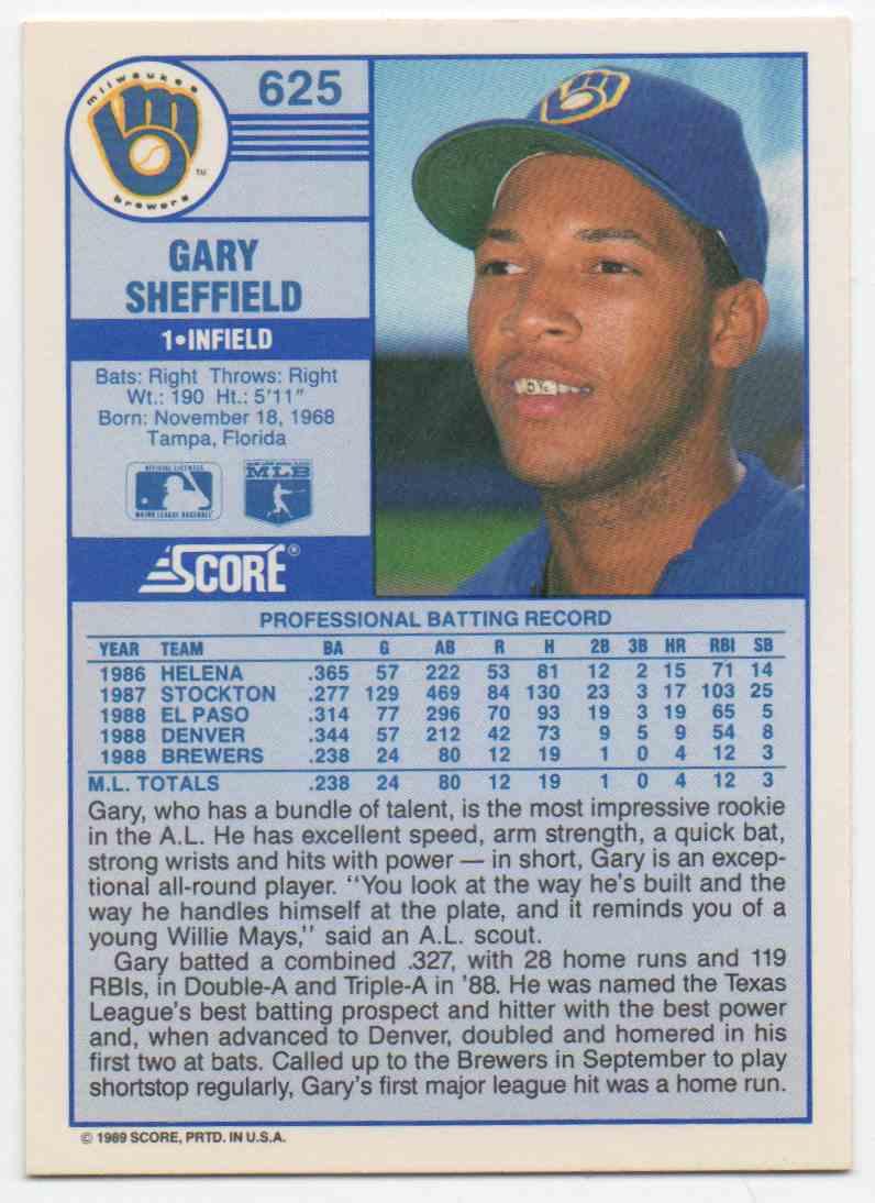 1989 Score Gary Sheffield #625 card back image