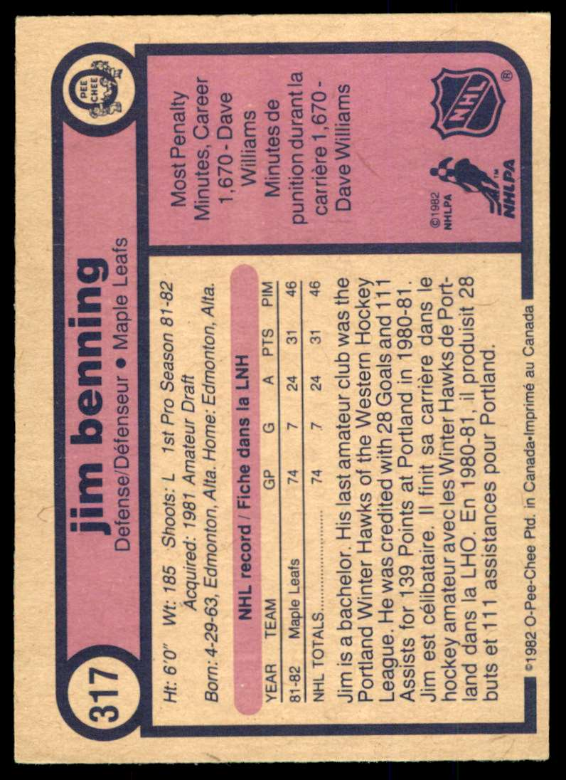 1982-83 OPC Jim Benning #317 card back image