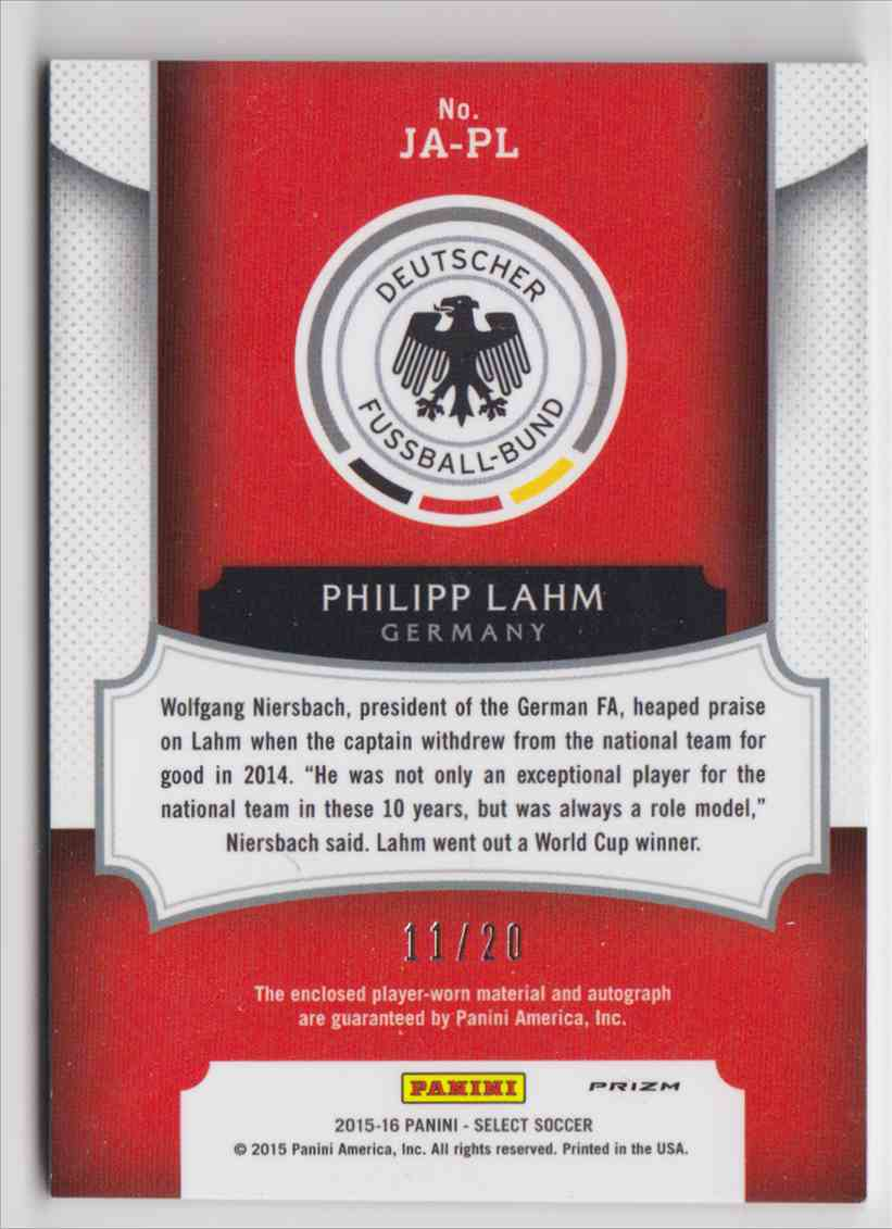 2015 Panini Select Prizm Orange Philipp Lahm #JA-PL card back image
