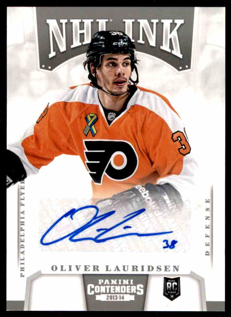 2013-14 Panini Contenders NHL Ink ! Olivier Lauridsen #I-OL card front image