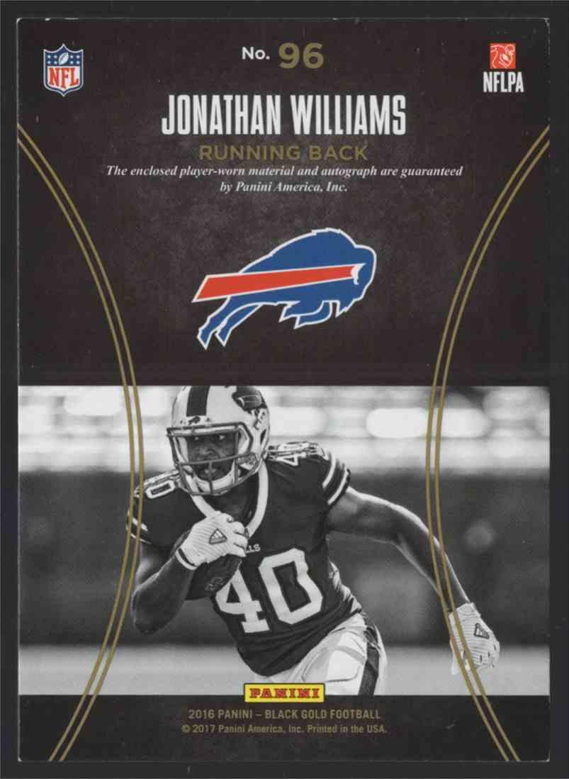 2016 Panini Black Gold Jonathan Williams #96 card back image