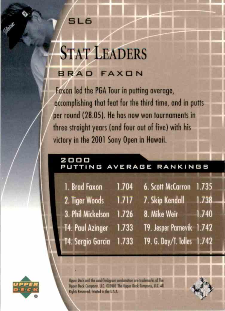 2001 Upper Deck Stat Leaders Brad Faxon #SL6 card back image