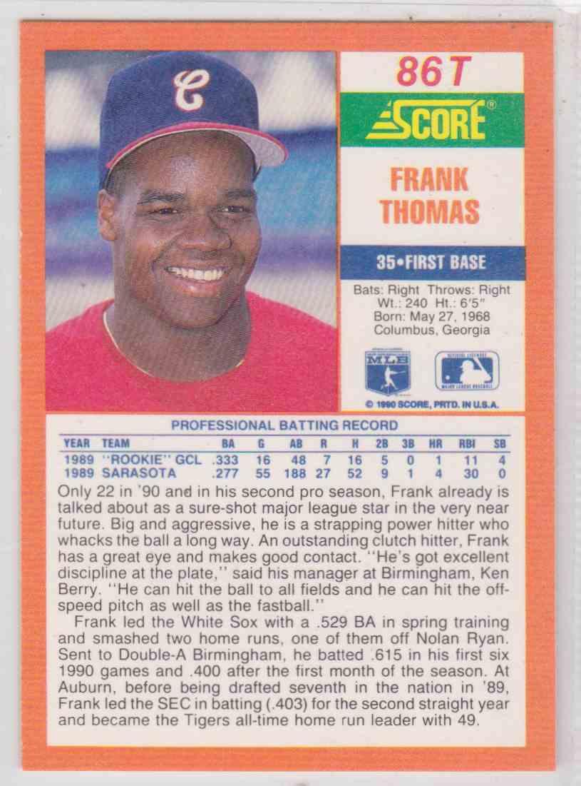 1990 Score Rookie Traded Frank Thomas 86t On Kronozio