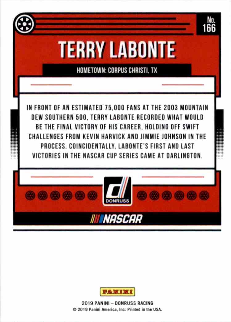 2019 Donruss Terry Labonte #166 card back image