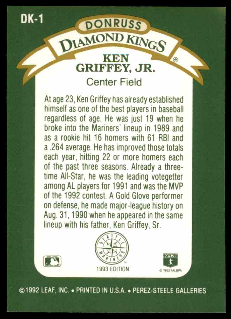 f340a3160f Real card back image 1992 Donruss Ken Griffey JR. Diamond Kings SP #DK-1  card back image