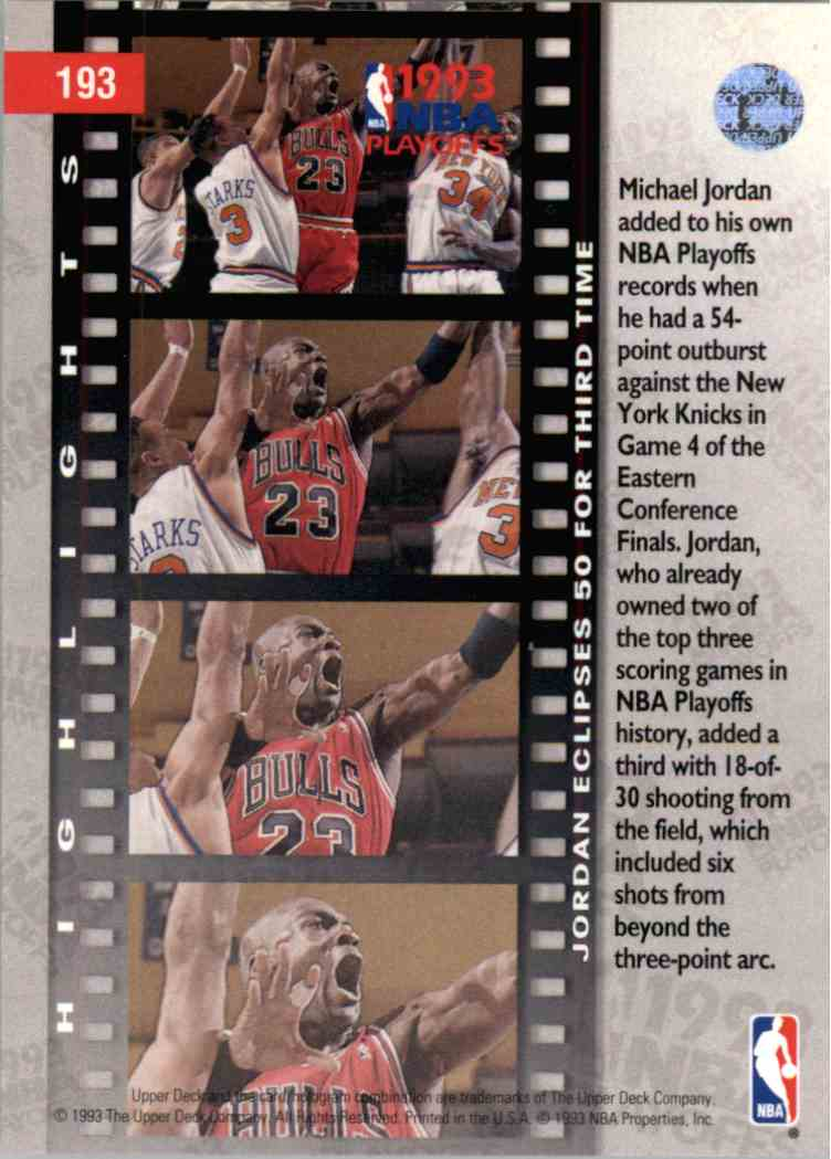1993-94 Upper Deck UD Choice Michael Jordan #193 card back image