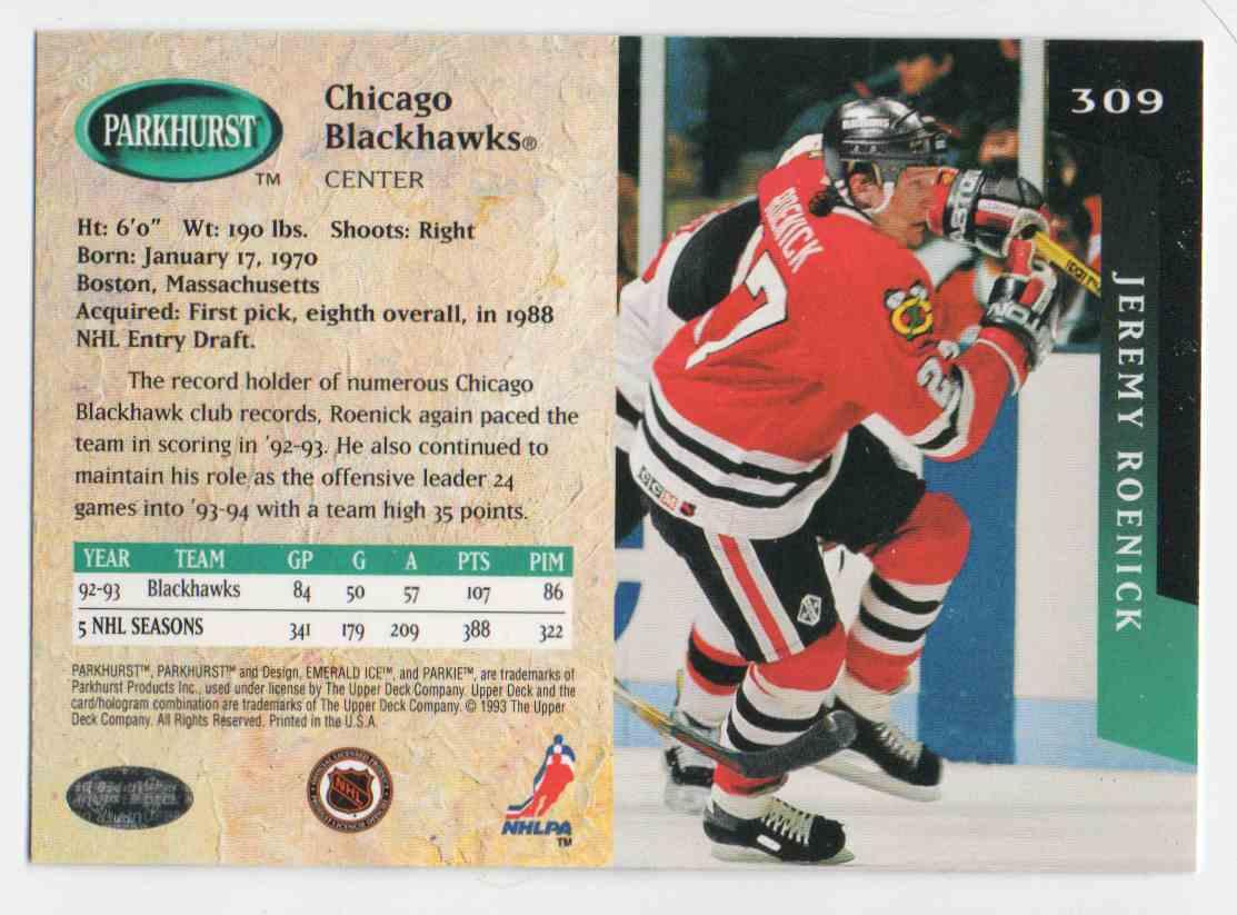 1993-94 Parkhurst Jeremy Roenick #309 card back image