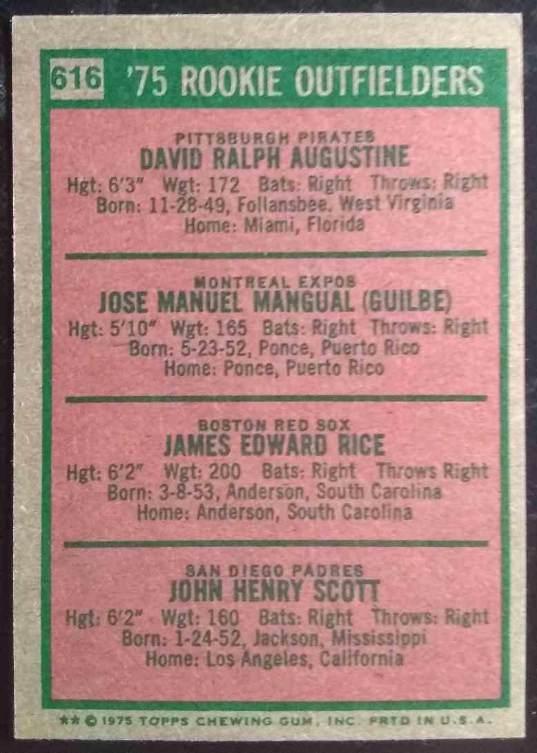 1975 Topps Mini Jim Rice Dave Augustine Pepe Mangual John Scott #616 card back image