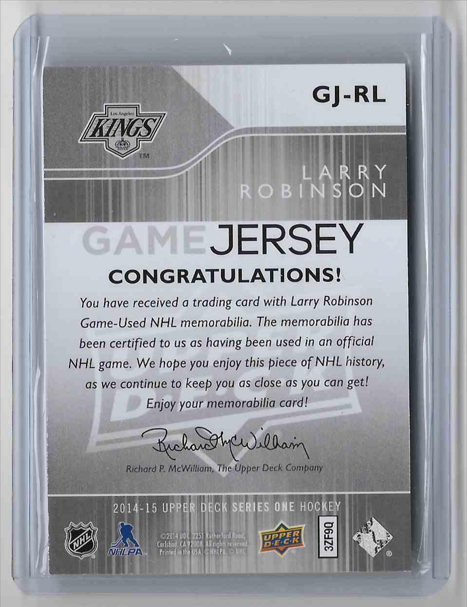 2014-15 Upper Deck Larry Robinson #GJ-RL card back image