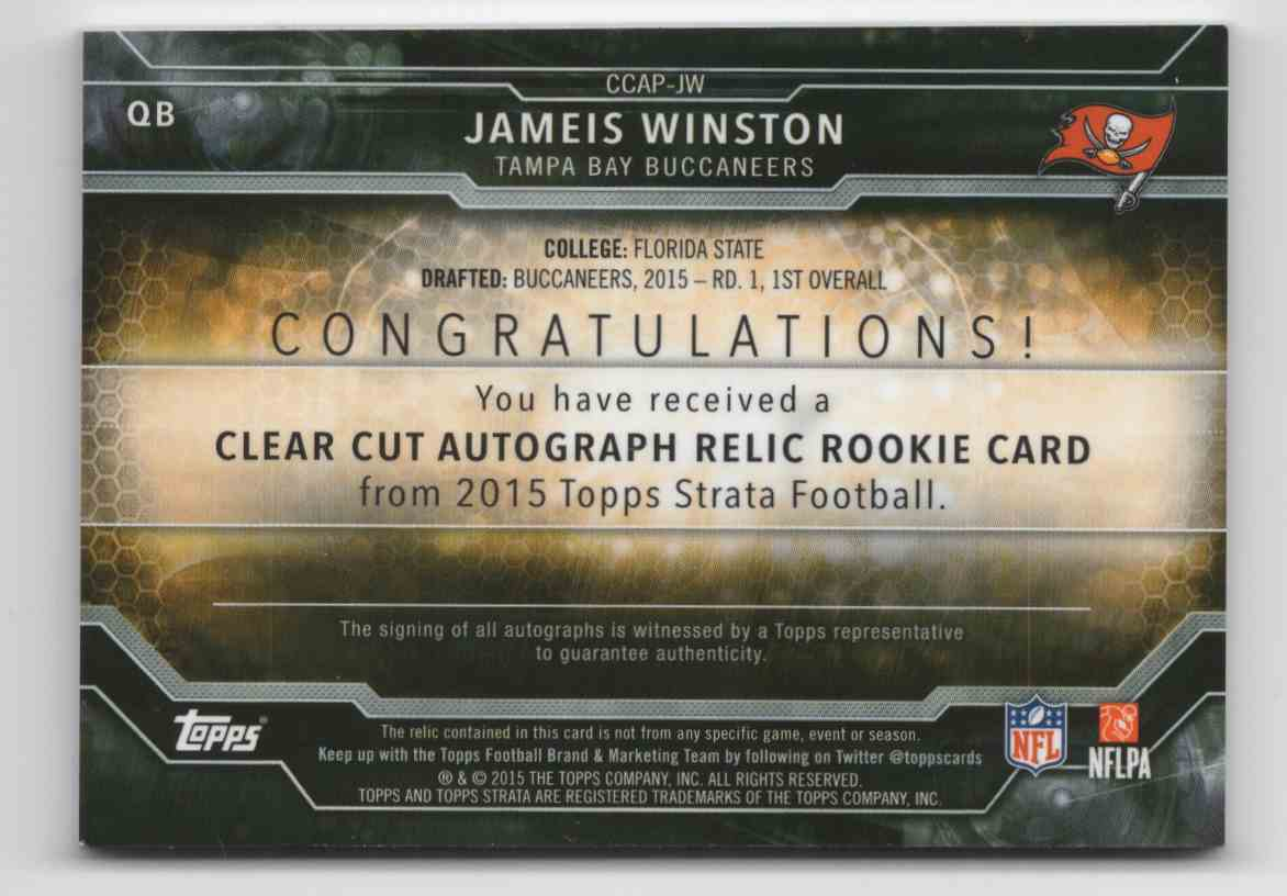 2015 Topps Strata Clear Cut Rookie Relic Autographs Green Jameis Winston #CCAPJW card back image