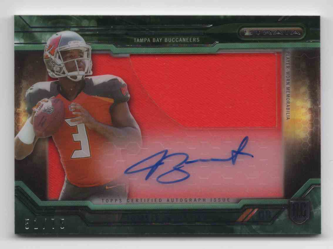 2015 Topps Strata Clear Cut Rookie Relic Autographs Green Jameis Winston #CCAPJW card front image