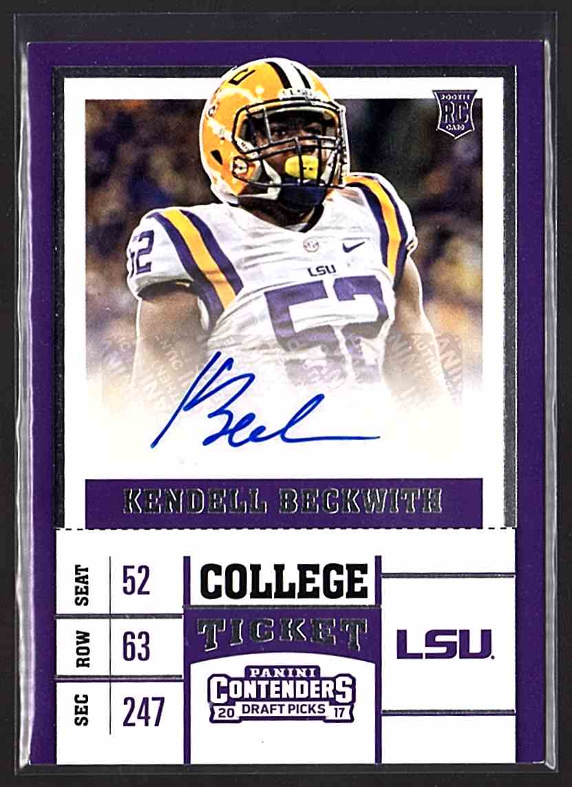 2017 Panini Contenders Draft Picks Kendell Beckwith #261 card front image
