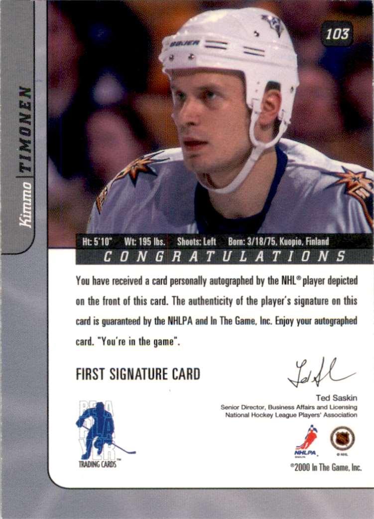 2000-01 Bap Signature Series Autographs Kimmo Timonen #103 card back image