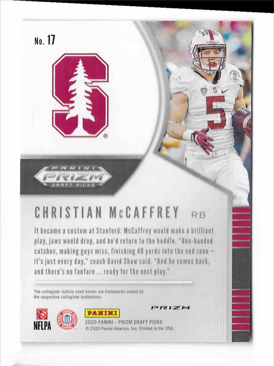 2020 Panini Prizm Draft Picks Purple Christian McCaffrey #17 card back image