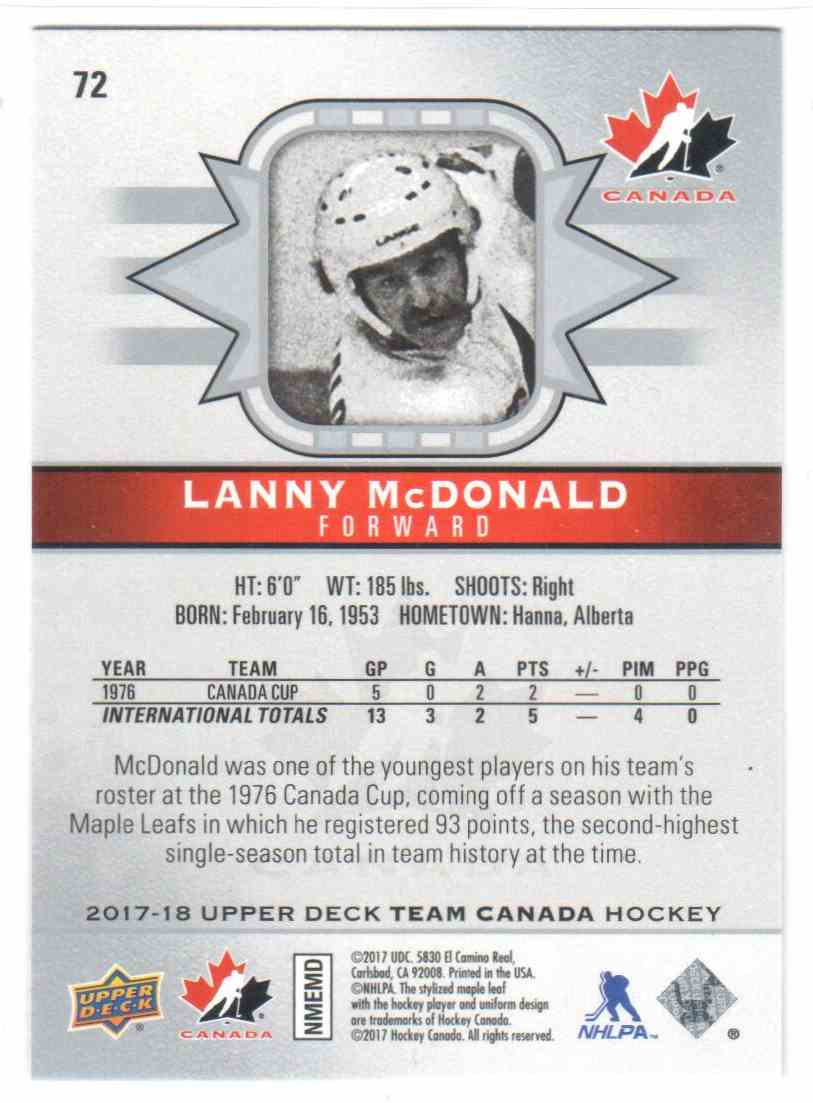 2017-18 Upper Deck Team Canada Canadian Tire Lanny McDonald #72 card back image