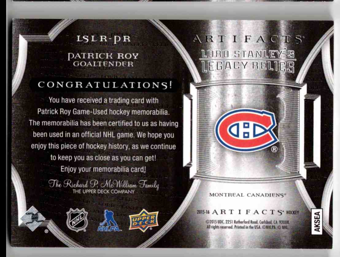 2015-16 Upper Deck Artifacts Lord Stanley's Legacy Relics Gold Patrick Roy #LSLR-PR card back image