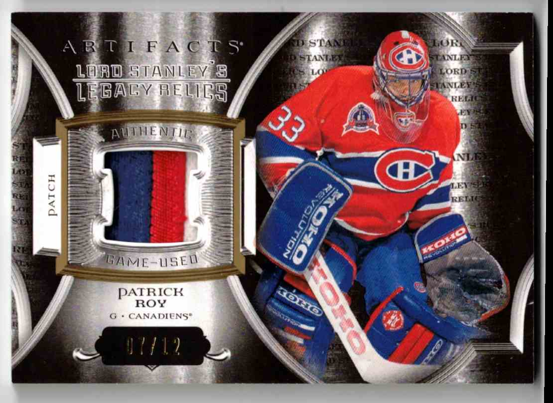 2015-16 Upper Deck Artifacts Lord Stanley's Legacy Relics Gold Patrick Roy #LSLR-PR card front image