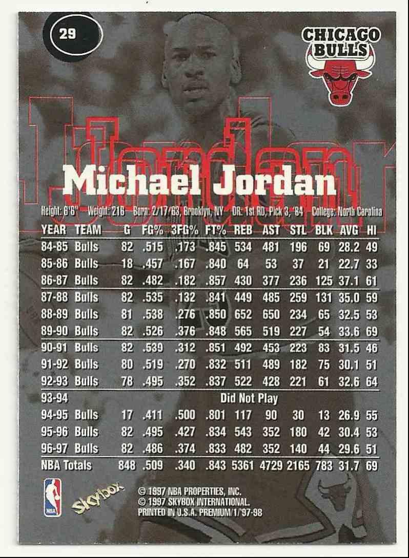 1997-98 Skybox Premium Michael Jordan #29 card back image