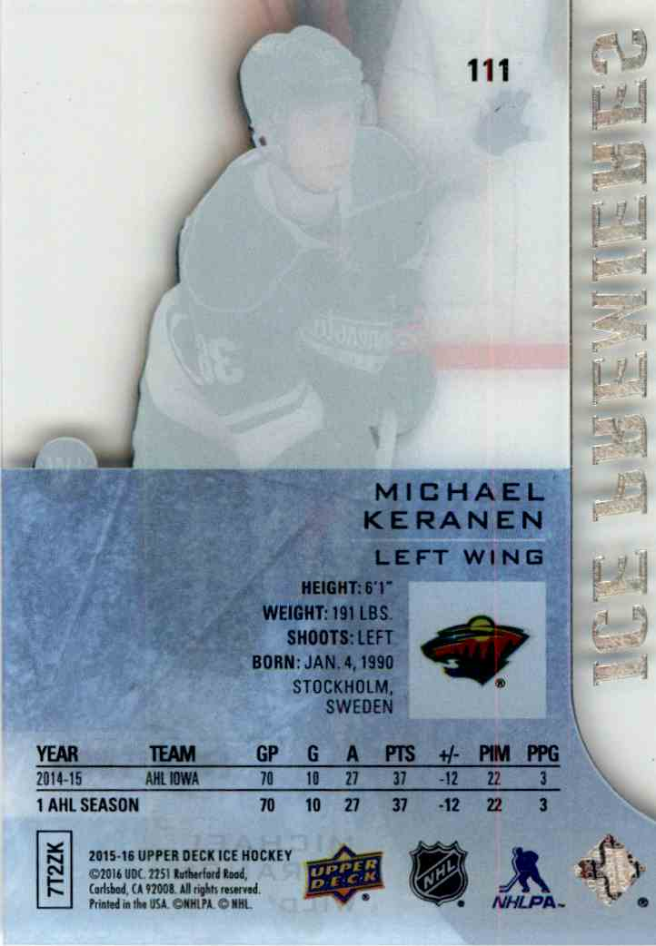 2015-16 Upper Deck Ice Premieres Michael Keranen #111 card back image