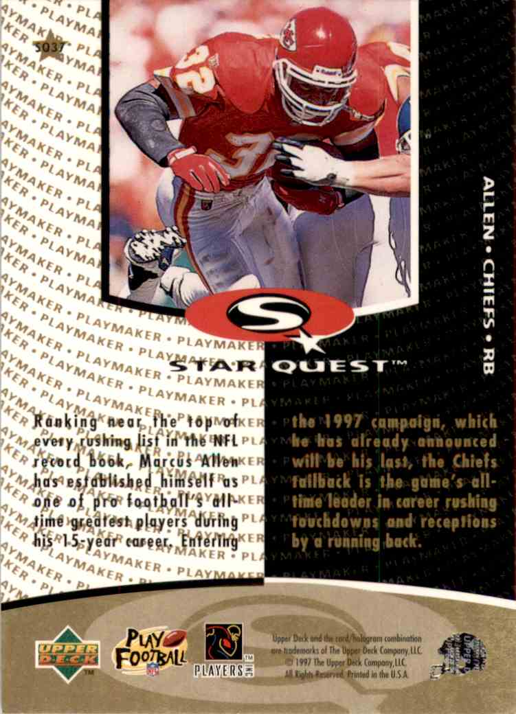 1997 Collector's Choice Star Quest Marcus Allen #SQ37 card back image