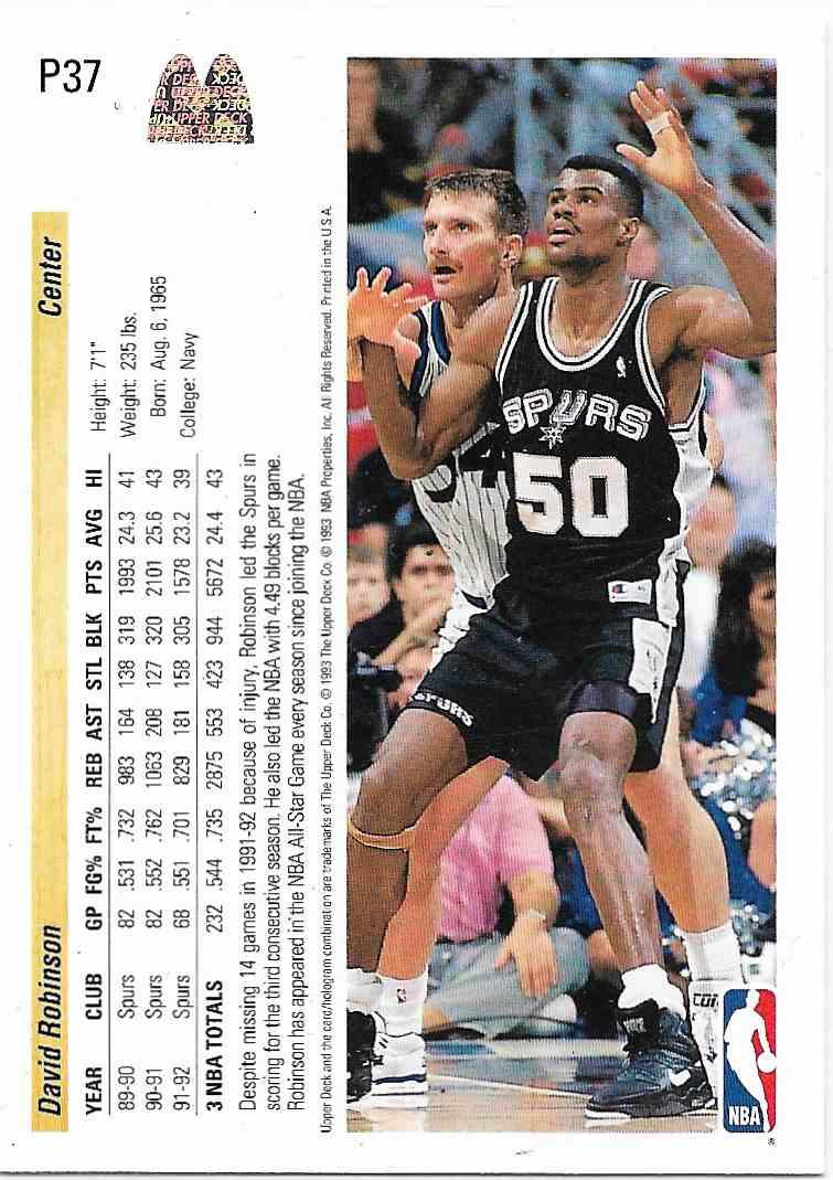 1993-94 Upper Deck McDonald David Robinson #P37 card back image