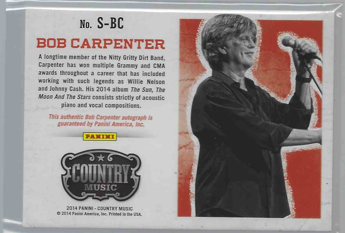 2015 Country Music Signatures Green Bob Carpenter #S-BC card back image